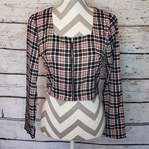 NWT Nasty Gal Square Neck Plaid Zip Up Top Size 4